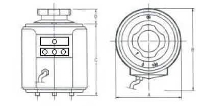 Disegno tecnico - Variatore monofase da tavolo o retroquadro protetti - 300-500 VA