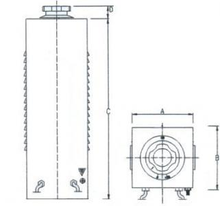 Technical Drawings - Three-phase variators for bench or protected back-of-board - 6600-9900-13400-21000 VA
