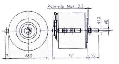 Technical Drawings - Single-phase variators for unprotected back-of-board - 150 VA